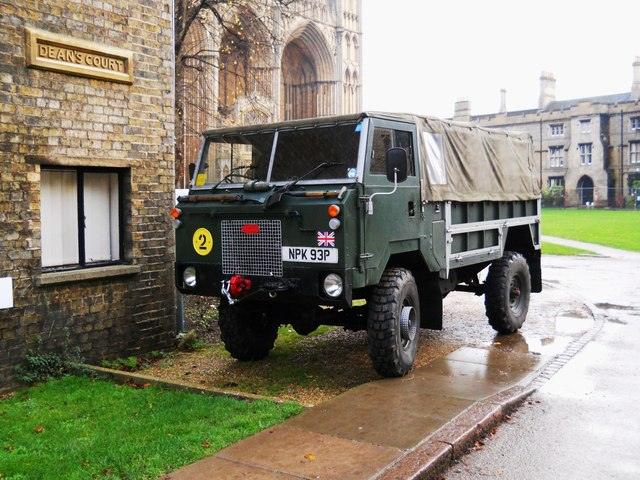 Land Rover military vehicle at Peterborough Cathedral