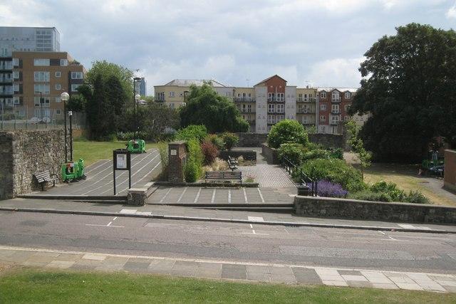 Town Quay Park seen across French Street, Southampton