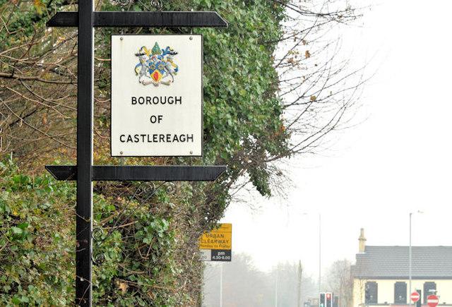 Castlereagh boundary sign, Dundonald (November 2014)