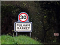 TM1986 : Pulham Market Village Name sign on Tivetshall Road by Adrian Cable