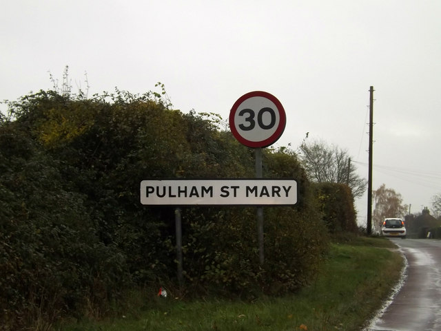 Pulham St.Mary Village Name sign on Norwich Road