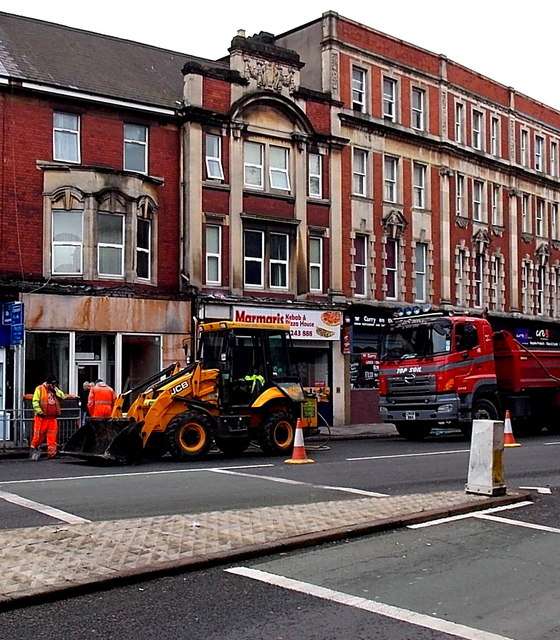 JCB and topsoil lorry in Clarence Place, Newport by Jaggery