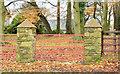 J4470 : Gateposts near Comber (November 2014) by Albert Bridge