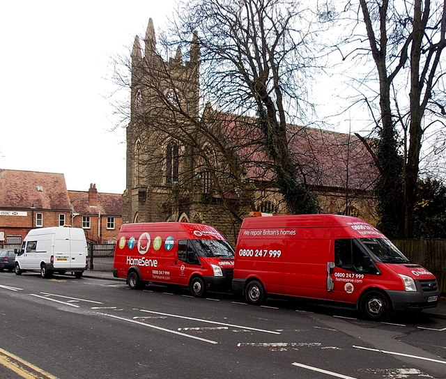 Two Red Homeserve Vans In Malvern Link C Jaggery Geograph Britain