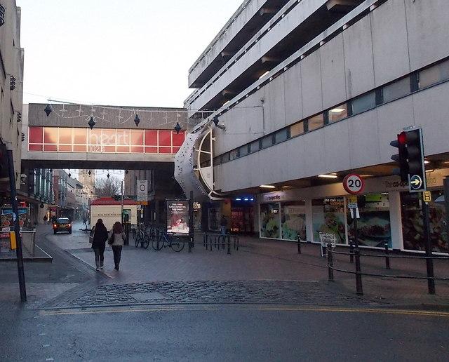 Walking along Eastgate Street, Gloucester
