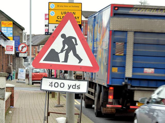 """""""Road works"""" sign, Dundonald (December 2014)"""