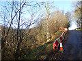 NY4973 : Road under threat near Black Lyne Bridge by Oliver Dixon