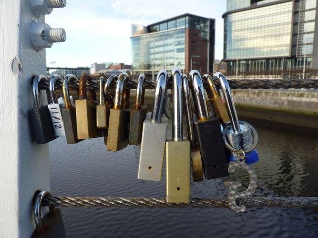 Padlocks on Tradeston Bridge, Glasgow