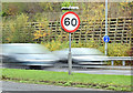 J3876 : 60mph speed limit sign, Belfast (December 2014) by Albert Bridge