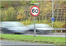 J3876 : 60mph speed limit sign, Belfast (December 2014) by Albert Bridge