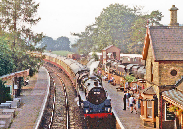 Arley station, Severn Valley Railway, with train 1990