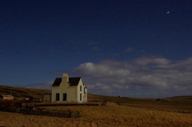 St Rognvald's, Fetlar, by moonlight