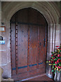 SJ5645 : Church of St Michael, Marbury: main door by Stephen Craven