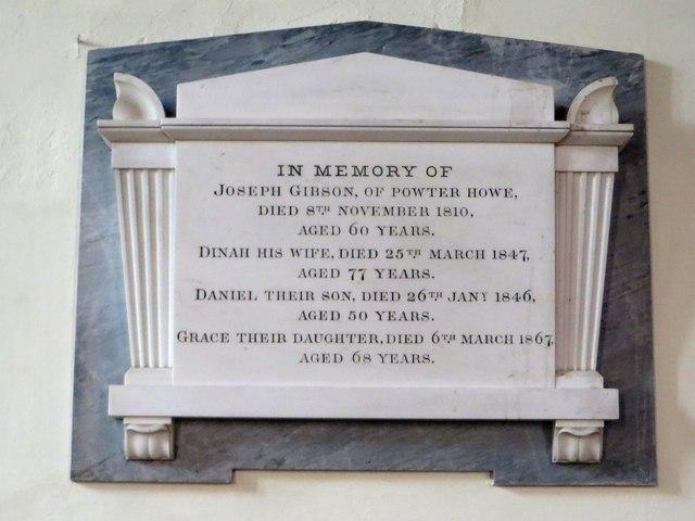 Memorial to Joseph Gibson and family, Church of Saint Mary, Thornthwaite