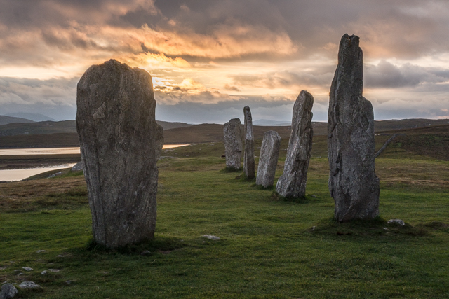 Near sunset at the Calanais Standing stones