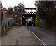 SU5290 : Low and narrow bridge ahead, Cow Lane, Didcot by Jaggery