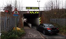 SU5290 : Low railway bridge in Didcot by Jaggery