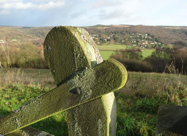 Weatherbeaten gate and view above Grindleford