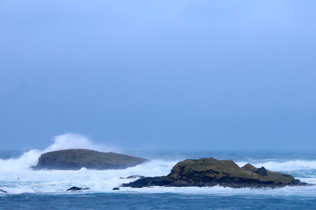 Brough Holm and Round Holm at the Westing in a storm