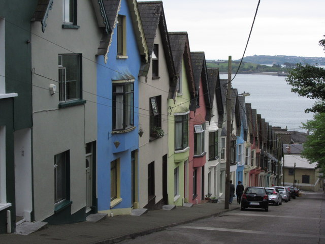 Cobh - West View & houses known as 'Deck of cards'