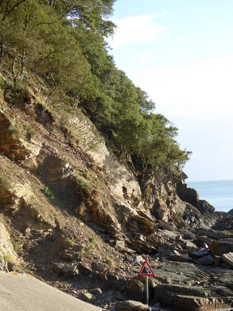Cliffs showing strata at Meadfoot