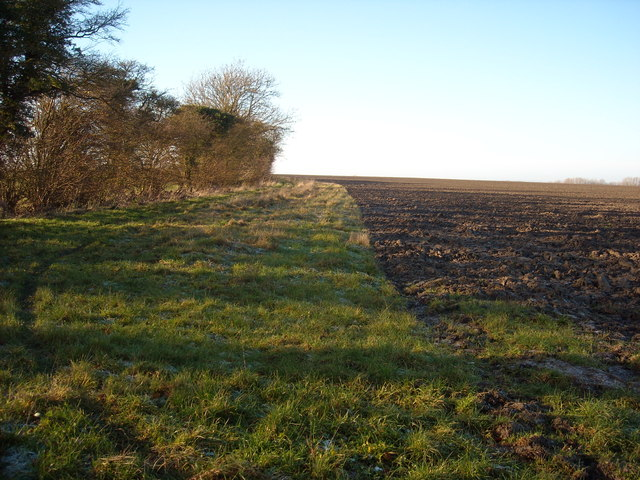 Public bridleway, edge of ploughed field, near Highway