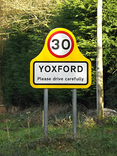 Yoxford Village Name sign on the A12 Main Road