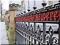 NZ2564 : Ornamental railings, St. Nicholas's churchyard by Mike Quinn