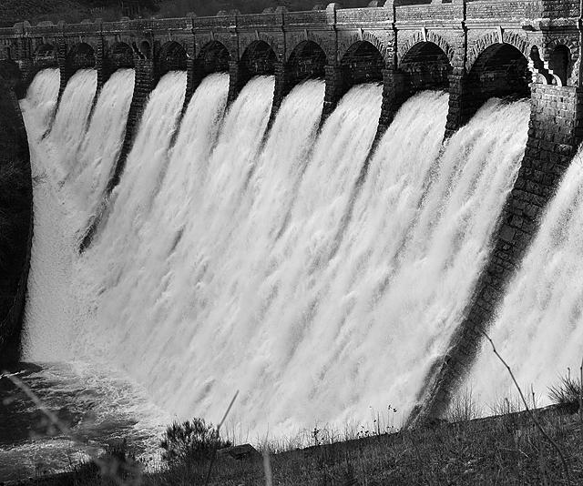 The Craig Goch dam overflows