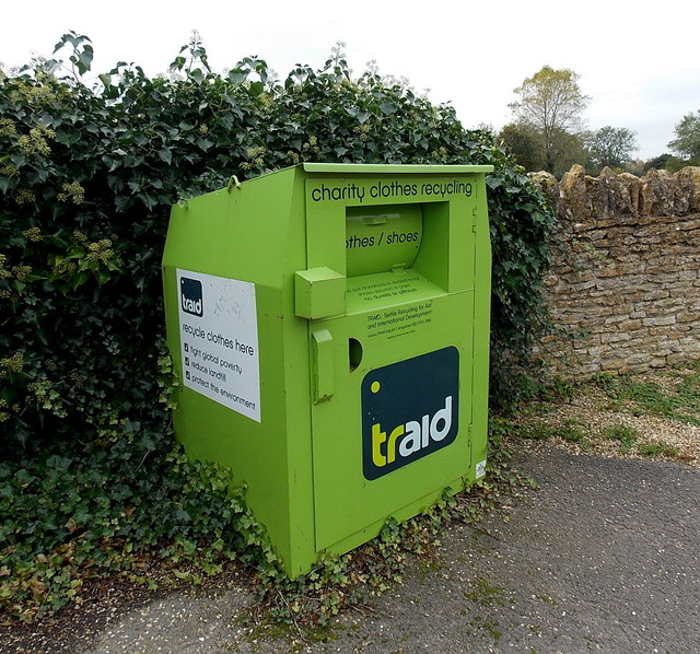 Traid clothes and shoes recycling bin in Lacock