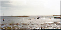 NU1341 : SE from shore at Holy Island village, 1989 by Ben Brooksbank