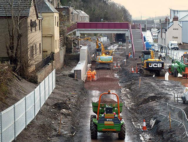 Borders Railway construction works in Galashiels