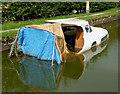 SJ9381 : Derelict sunken boat near Wood Lanes, Cheshire by Roger  Kidd