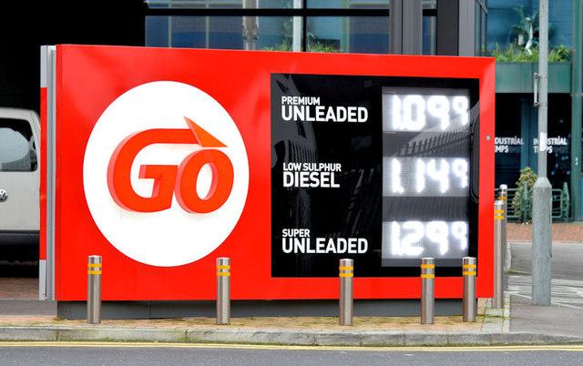 Fuel price sign, Belfast (26 December 2014)
