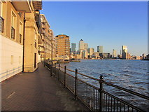 TQ3680 : Canary Wharf as seen from Thames Path W of the entrance to Limehouse Basin by Colin Park