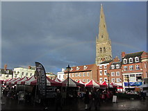 SK7953 : Newark on Trent - Market Place & spire of St Mary Magdalene Church by Colin Park