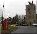 SO5712 : Village green phonebox and Christchurch Parish Church by Jaggery