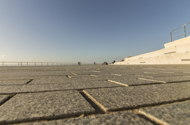 New seating and paved area, Bexhill seafront