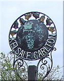 TM3864 : Kelsale cum Carlton village sign (detail) by Adrian S Pye