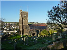 SX5447 : St. Peter's church, Noss Mayo, in late December sunshine by Ruth Sharville