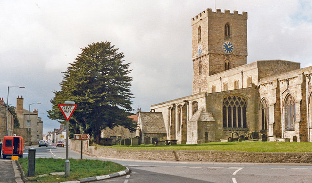 Staindrop: Front Street and St Mary's Church, 1989