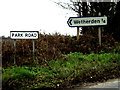 TM0062 : Roadsign & Park Road sign by Adrian Cable
