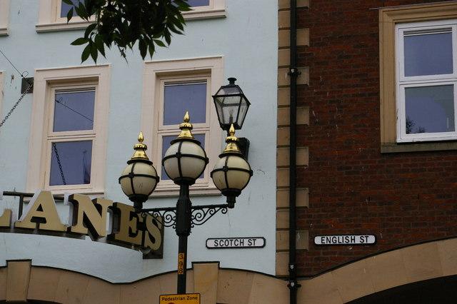 Carlisle, Market Place: where English Street and Scotch Street meet