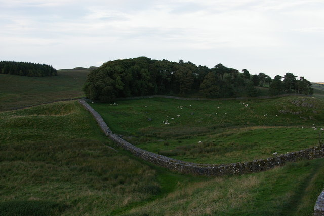 Hadrian's Wall dropping to the Knag Burn, east of Housesteads