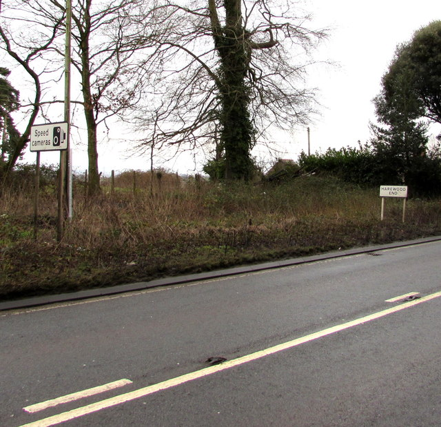 Speed cameras sign near the Harewood End boundary sign