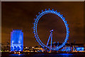 TQ3079 : London Eye in Blue, London SE1 by Christine Matthews