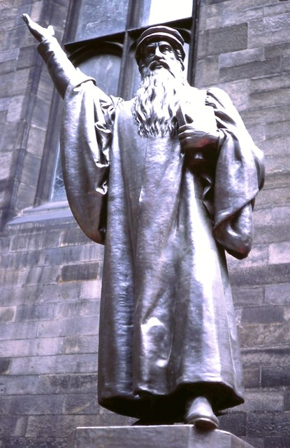 John Knox statue. New College, The Mound
