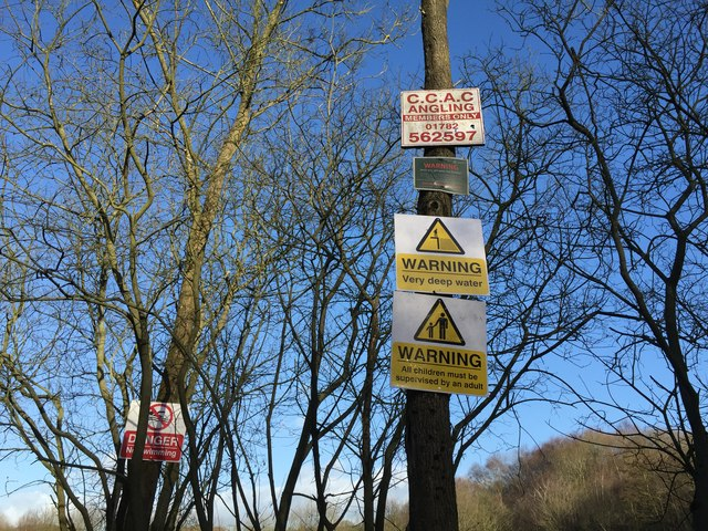 Apedale Country Park: plethora of notices at Burley Pools