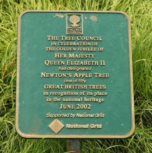 Newton's Apple Tree plaque
