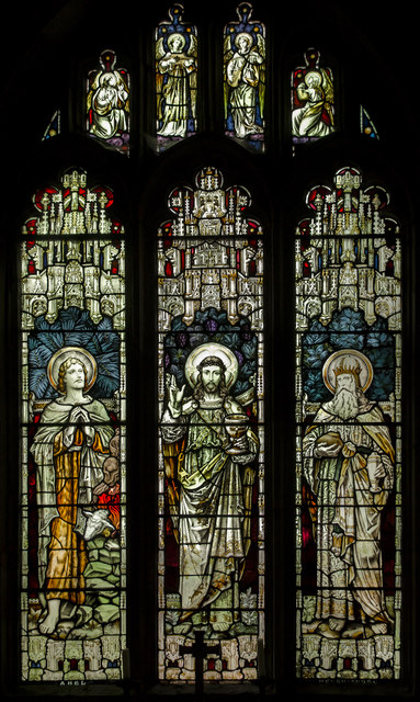 Stained glass window, St George's church, Brede